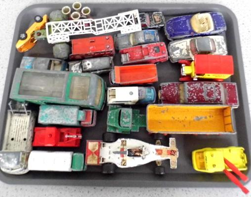 Tray of play worn diecast vehicles, incl. Dinky & Corgi