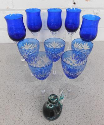 Selection of Bohemian cut clear blue glasses