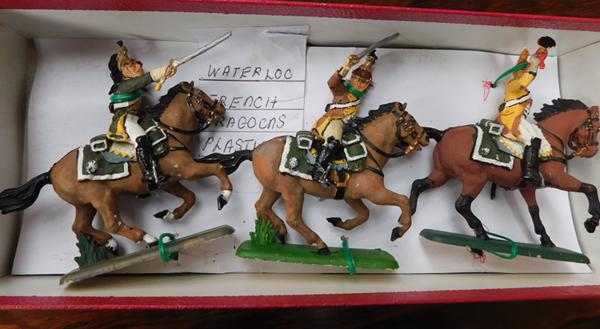 Three hand painted mounted Waterloo French dragoons