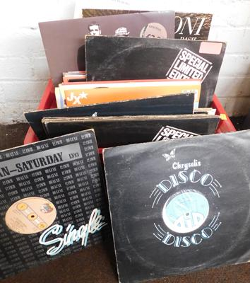 Large box of records, 12 inch singles