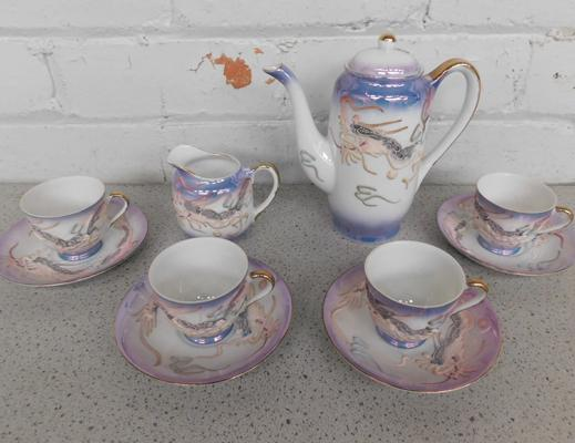 Japanese tourist ware coffee set. Handpainted, no damage, set is missing the sugar bowl