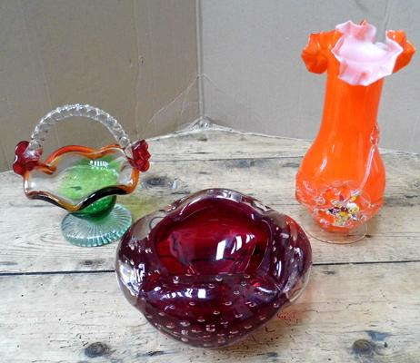 3 x heavy pieces of coloured glass