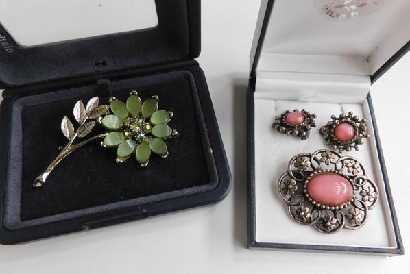 Vintage earring and brooch set with one other vintage brooch