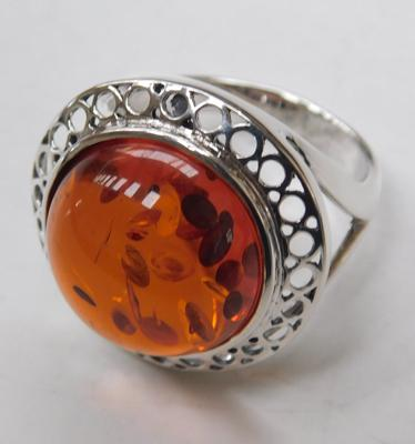 Celtic silver & amber ring