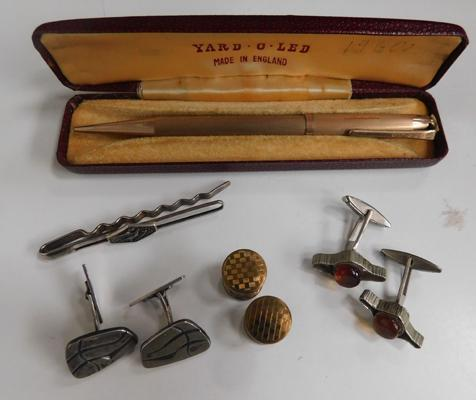 Vintage rolled gold pencil in original box with vintage cufflinks and tie pin