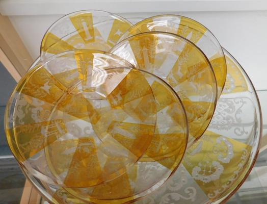 Rare antique bohemian amber cut to clear glass plates x 6. c1890 (one large & five small)