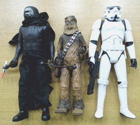 Three large Star Wars figures (17 inches tall)