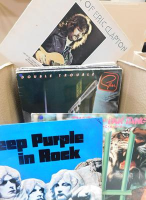 Over 50 LPs & 12 inch singles, incl. Deep Purple, Gillan, Yes, Floyd, Genesis, Lennon, Clapton, Foghat