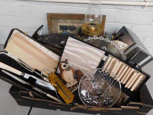 Box of vintage collectables, Deco book trough, brass oil lamp, carving set, Slater spring balance etc...