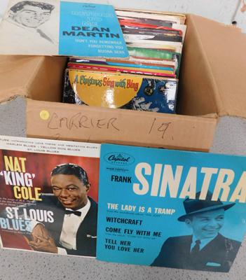 Box of singles (62) including 19 pre 1960 picture sleeves and 43 mixed 1970/80s singles