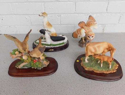 Country Artist cow & calf (ear missing) + greyhounds, wrens, owl - 3 no damage