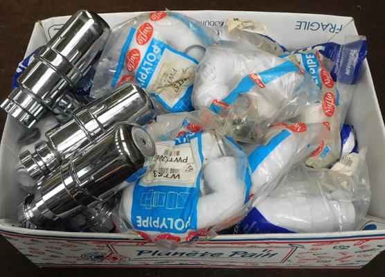Box of plastic plumbing pipes