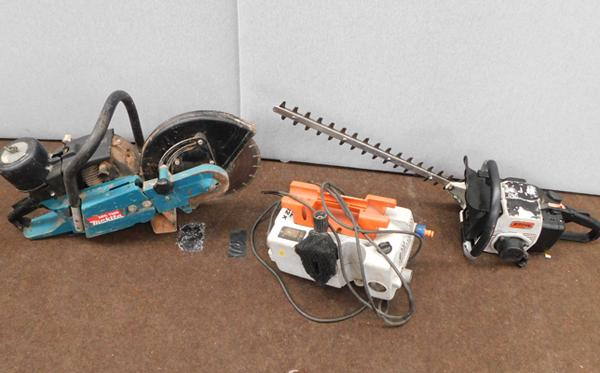 Stihl hegetrimmer - runs but needs attention, Stihl RE102K pressure washer, W/O, needs lance + Makita DPC7000 for spares or repairs