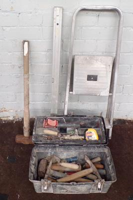 Tool box of tools, sledge hammer, level and small step ladders