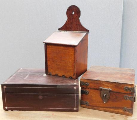 Three vintage wooden collection + jewellery boxes etc...