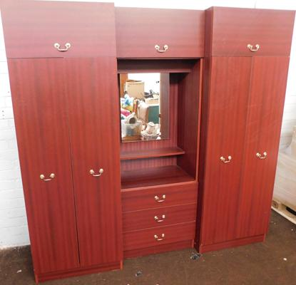 Three sectioned bedroom wardrobe unit