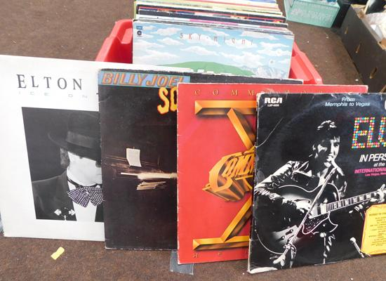 Box of mixed LP records including Elvis, Billy Joel etc.