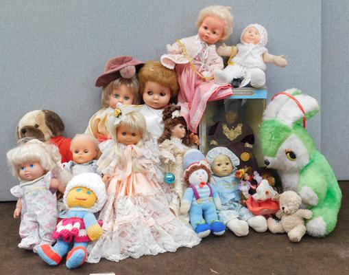Collection of vintage dolls and teddy bears