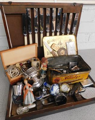 Large oak canteen containing cutlery + vestas, pocket watches, pill box, jewellery etc...