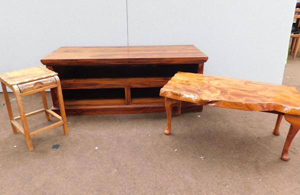 Two carved occasional tables with TV cabinet