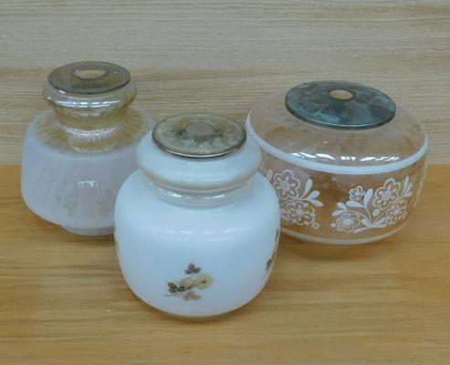 Three vintage glass lampshades