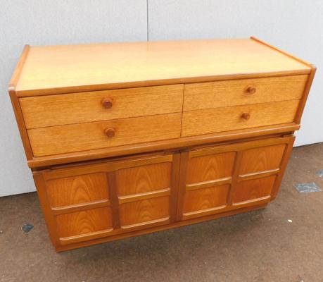 Mid-century teak two door Nathan cabinet with four drawers