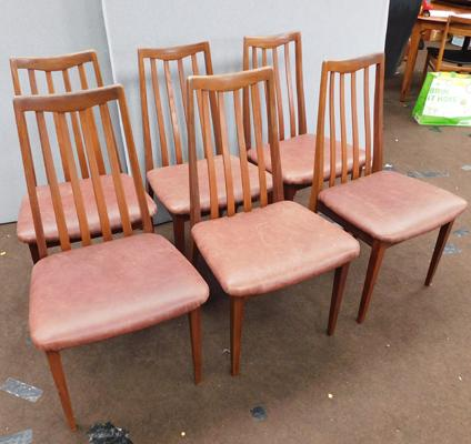 Six mid-century G-Plan dining chairs
