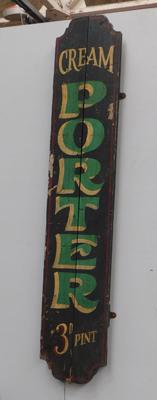 Cream Porter 3d a Pint wooden display sign, approx. 48 inches long
