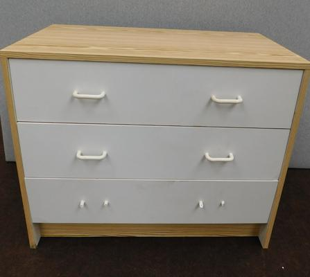 Three drawer pine effect & white bedside cabinet (requires new handles)