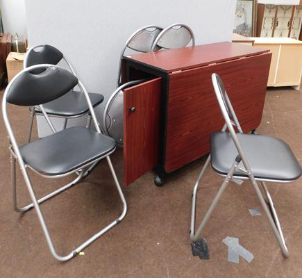 Drop leaf folding table with six folding chairs by Harbour Housewares - chair has storage in centre