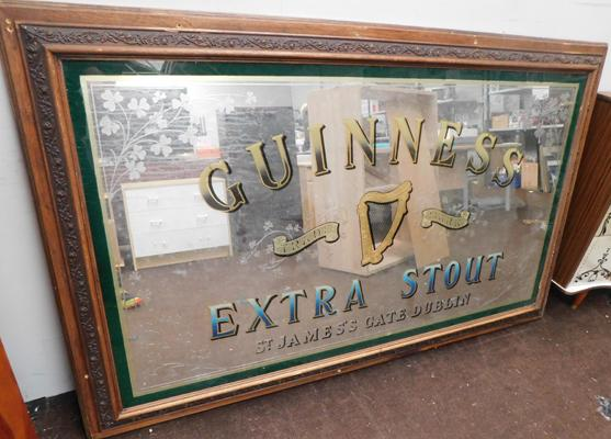 Large Guinness Extra Stout pub display mirror in wooden frame - approx. 70 x 44 inches