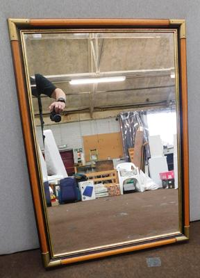 Large framed bevel edged mirror, approx. 40 x 28 inches