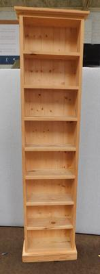 8 shelf book/display unit in pine, approx. 72 inches tall