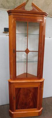 Glass topped corner display cabinet