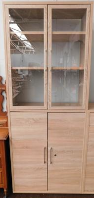Modern beech coloured glass topped storage unit