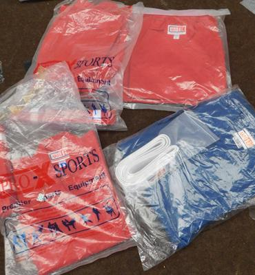 4 x karate suits - 3 red & 1 blue