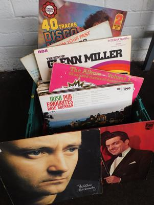 Large box of records, mixed LPs