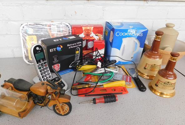 Mixed box of collectables, incl. tools, new BT phone, Wade Bells whiskey ceramics