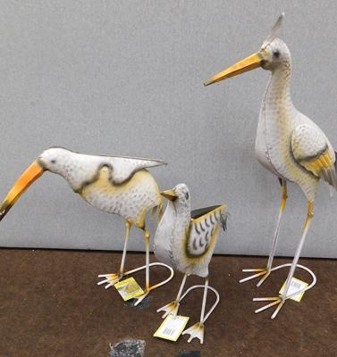 "3 handcrafted and handpainted metal shore birds - tallest 26"" (new)"