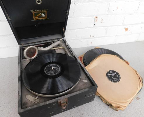 His Masters Voice gramophone & vintage 78 rpm records