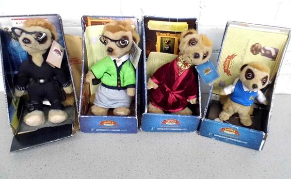 Four boxed collectable meercats