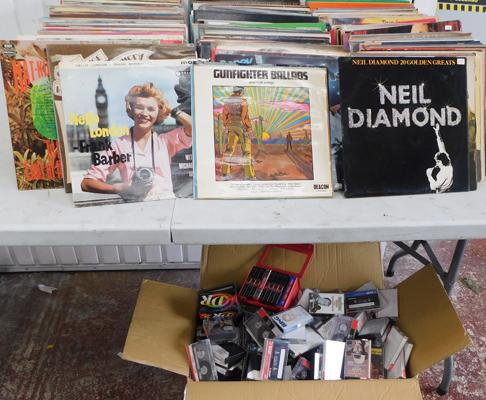 Large collection of LPs records including large box of cassette tapes (mainly used blanks)