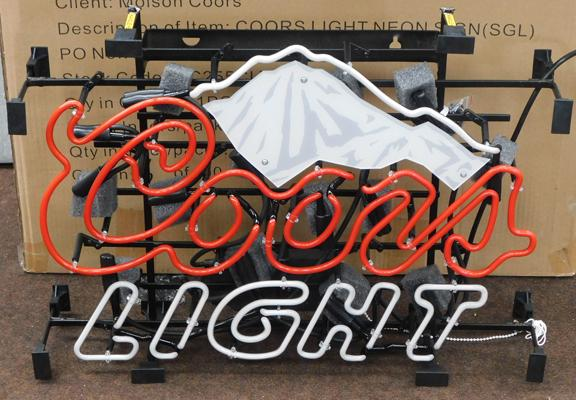 Coors Light neon display sign, boxed & unused