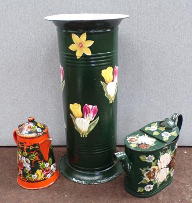 Three pieces of painted bargeware