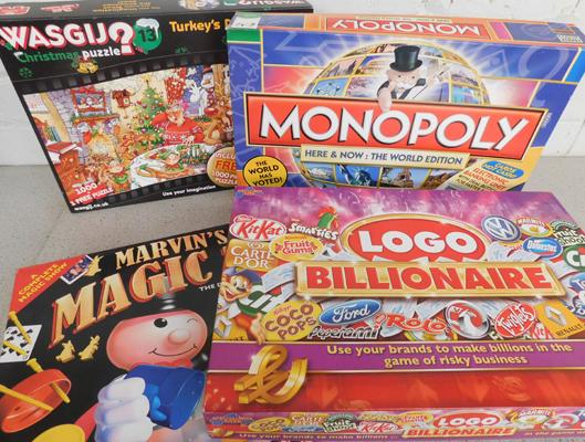 Three board games, incl. Monopoly World Edition + one jigsaw, unchecked
