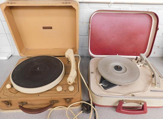 2 x vintage portable vinyl turntables - sold as seen