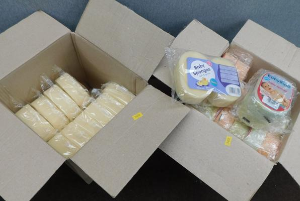 2 boxes of sealed baby sponges