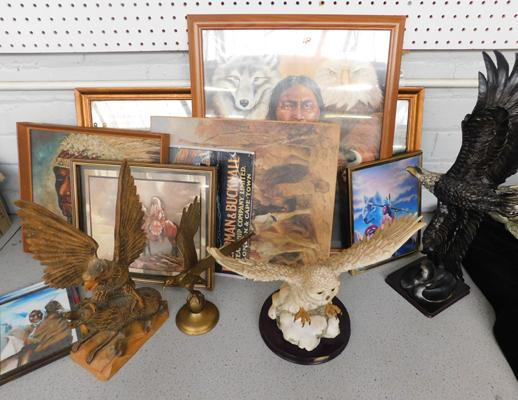 Large assortment of Native American Indian pictures/prints with eagle + owl ornaments