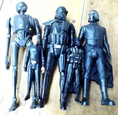Three large Star Wars figures + two smaller figures (approx. 17 inches tall)
