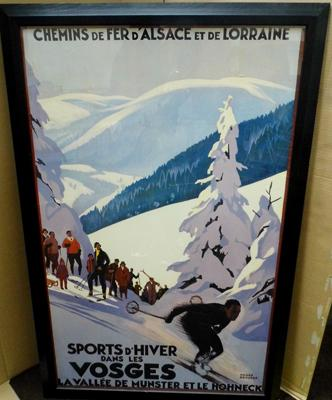 Large French Alps poster, framed - approx. 41 x 27 inches
